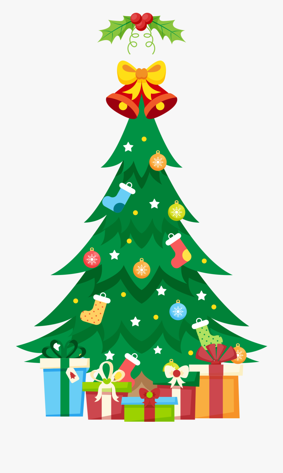 Traditional Christmas Tree With Gifts Clipart Png Image - Christmas Tree, Transparent Clipart