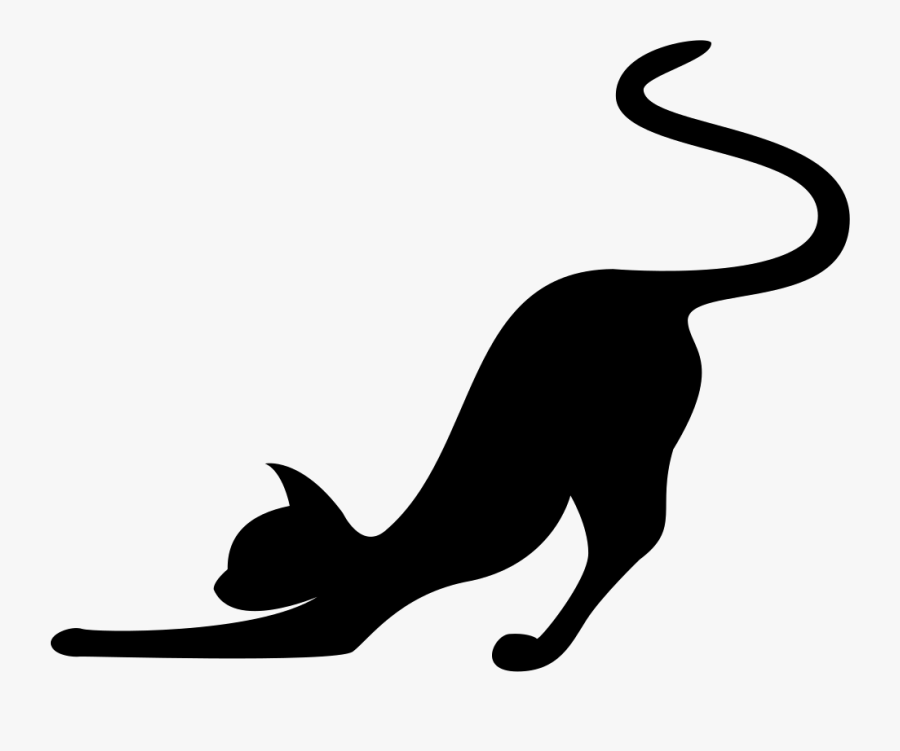 Cat Stretching Silhouette Svg Png Icon Free Download - Cat Stretching Silhouette, Transparent Clipart