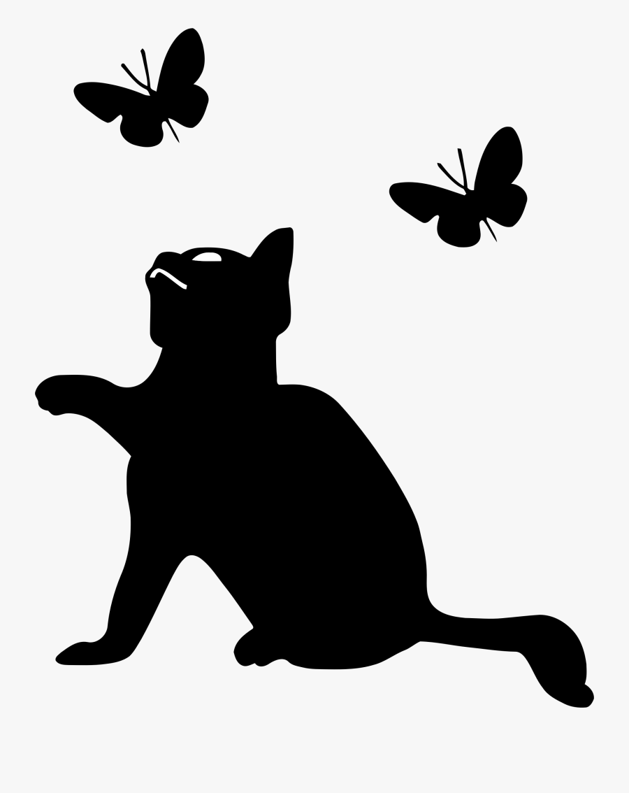 Silhouette Clipart Kitten - Cat And Butterfly Silhouette, Transparent Clipart