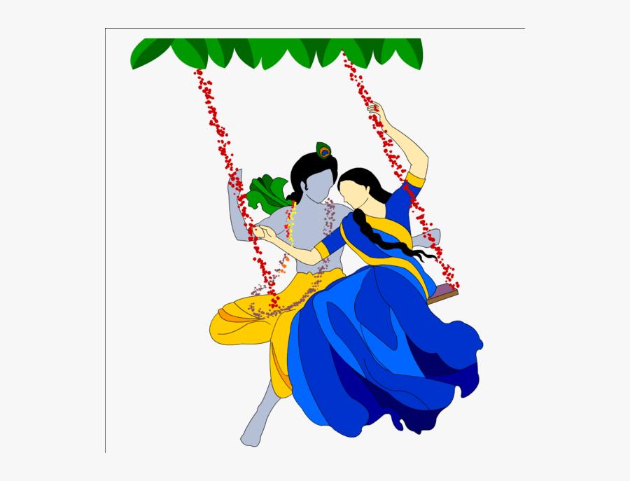 Radha Krishna Png Transparent Images - Cartoon Radha Krishna Holi, Transparent Clipart
