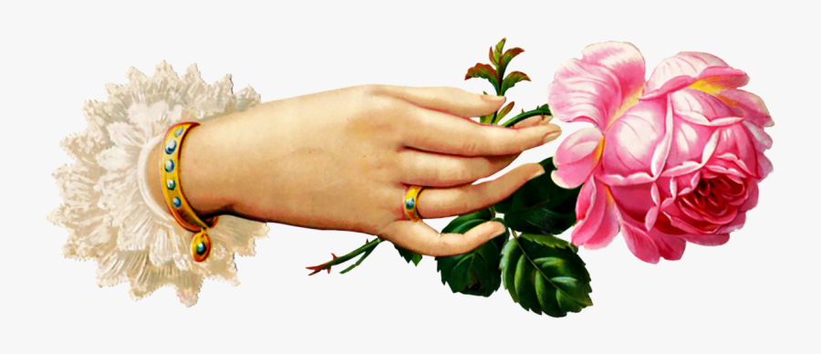 Free Victorian Hand With - Victorian Hand Holding Flower, Transparent Clipart