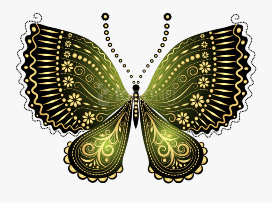 Clipart Drawing Gg71232364 - Black And Gold Butterflies, Transparent Clipart