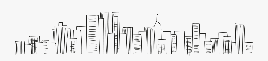 New York Black And White - City Skyline Line Png, Transparent Clipart