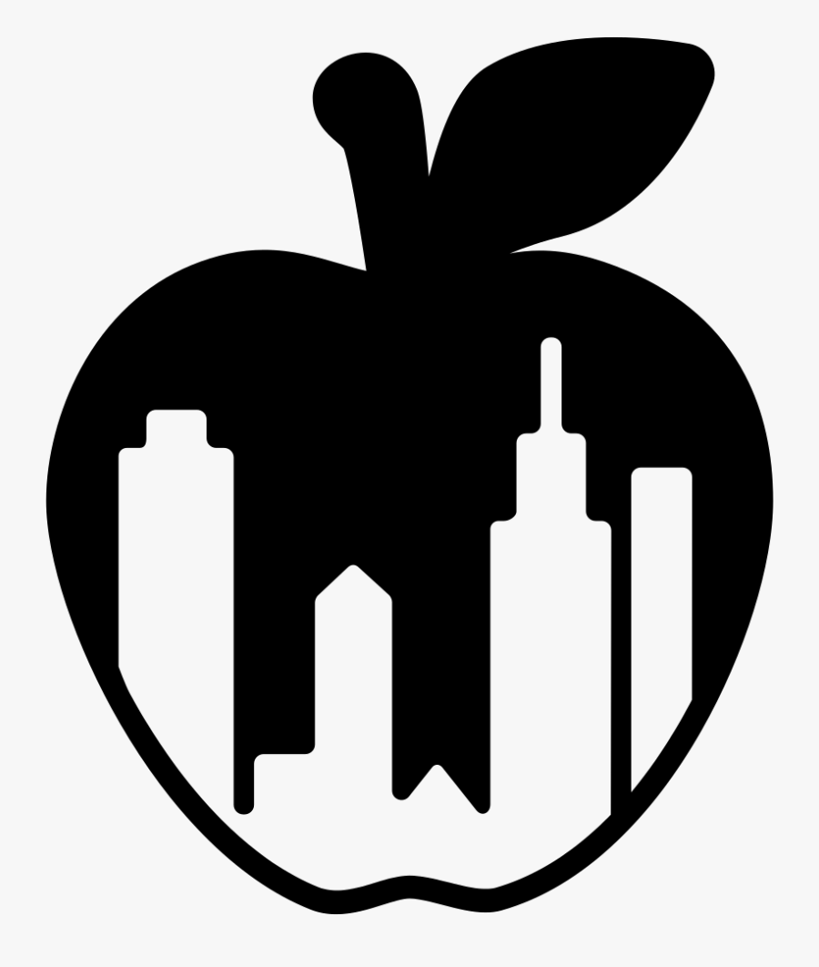 New York City Apple Symbol With Buildings Shapes Inside - Symbol For New York, Transparent Clipart
