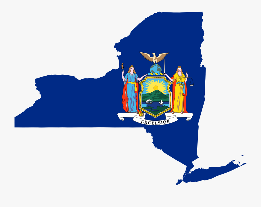 Clipart Map Of New York City - New York State With Flag, Transparent Clipart