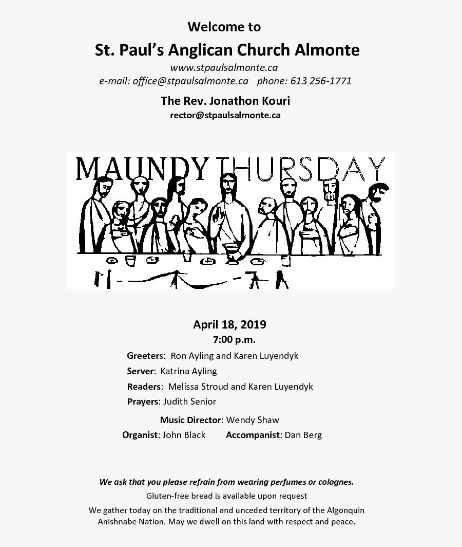 Maundy Thursday Liturgy - Maundy Thursday, Transparent Clipart