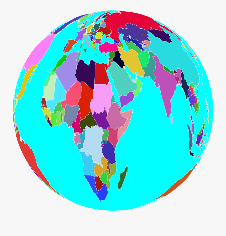 Planet Clipart Colorful - World Map Colourful Globe Png, Transparent Clipart