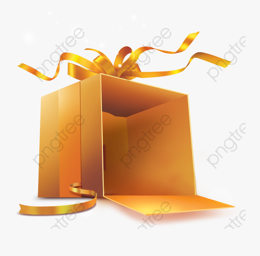 Gift Clipart Gold - Open Gift Box Clip Art, Transparent Clipart