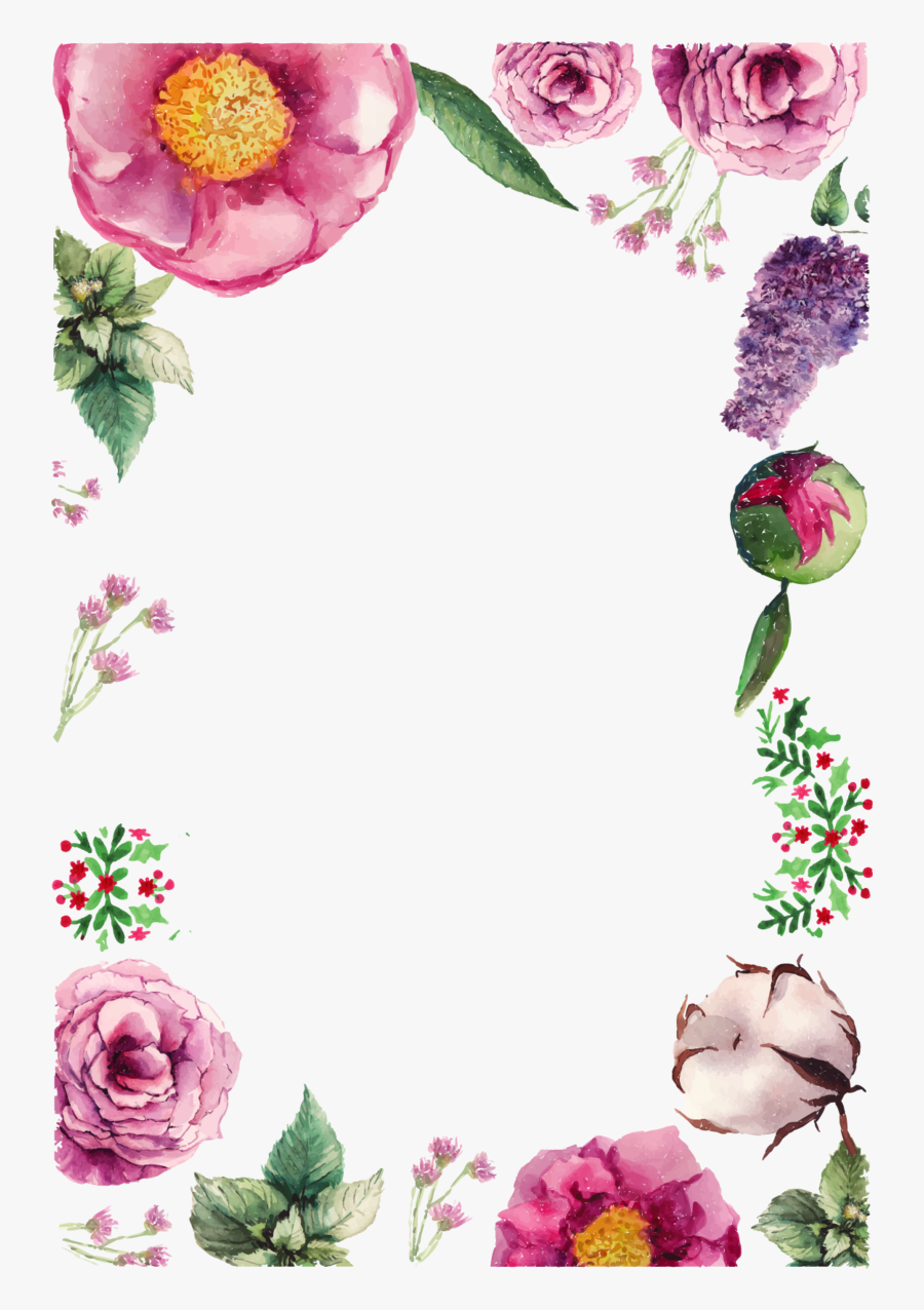 Flower Greeting Birthday Vector Flowers Border Card - Happy Birthday To You Flowers, Transparent Clipart
