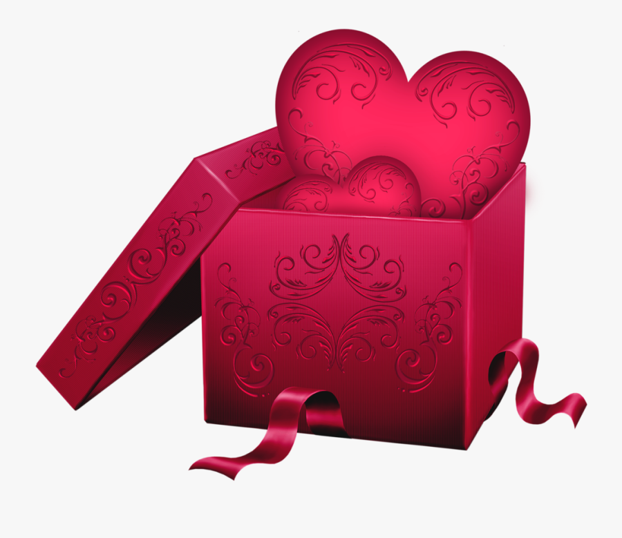 Transparent Gift Box With Heart Png Clipart - Valentine Gift Box Png Transparent, Transparent Clipart