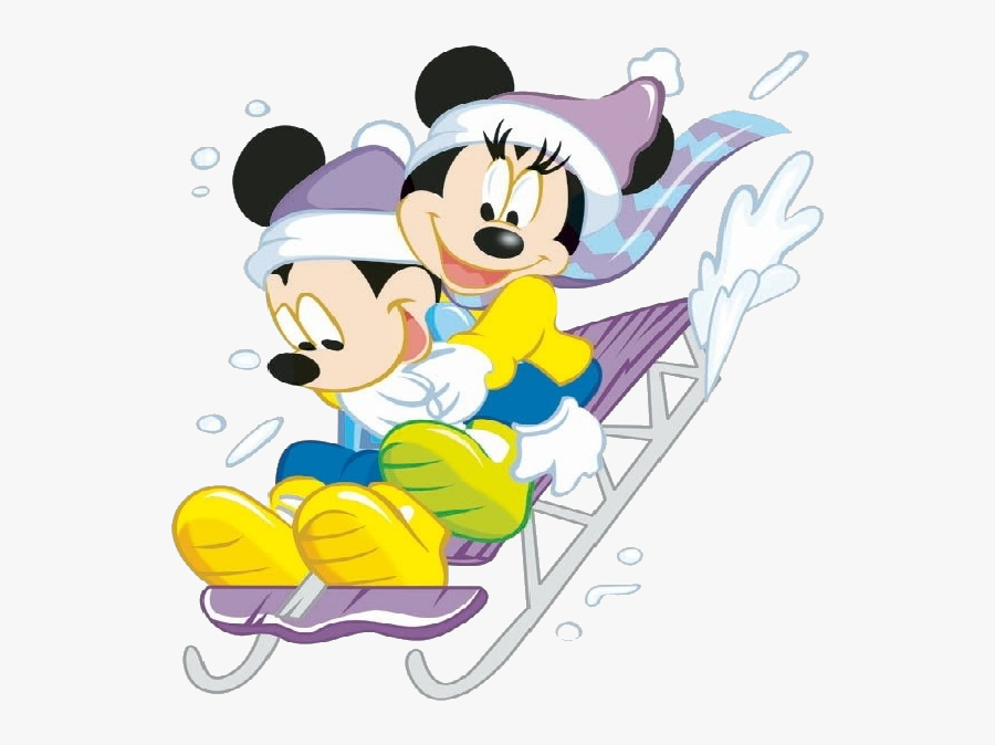 Transparent Disney Winter Clipart - Mickey And Minnie Mouse Winter, Transparent Clipart