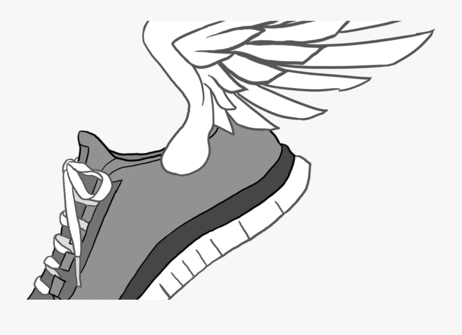 Running Shoe With Wings - Running Shoes Drawing Easy, Transparent Clipart