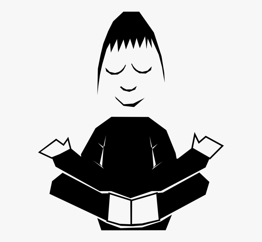 Monochrome Behavior - Meditation Self Control Cartoon, Transparent Clipart