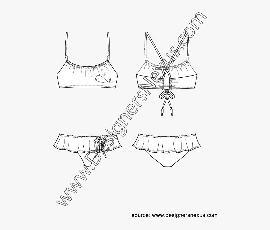 Scoop Neck Bikini Top With Ruffled Skirt Bottom Swimwear - Swimwear, Transparent Clipart