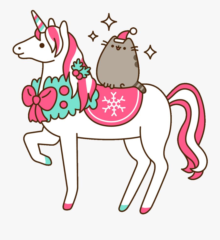 Winter Wonderland Christmas Sticker By Pusheen Clipart - Animals Cute Gif Cartoon, Transparent Clipart