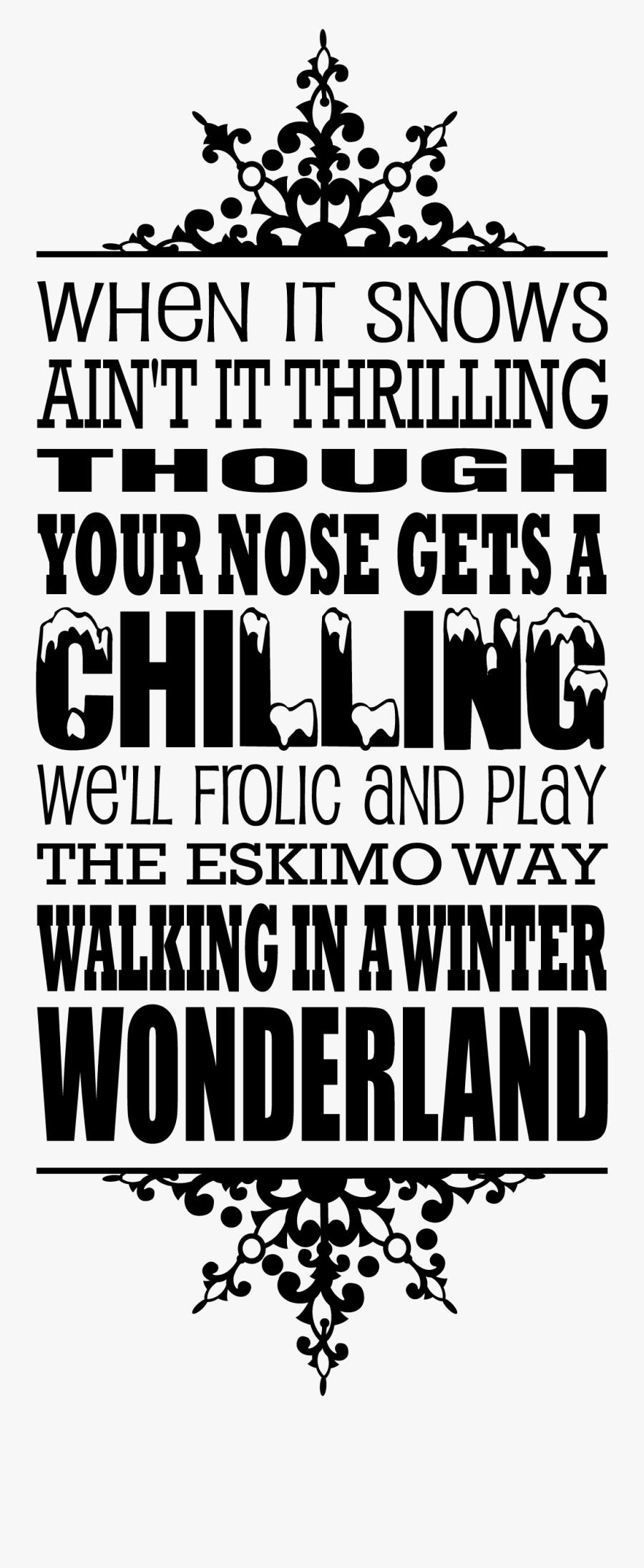 Transparent Walking In A Winter Wonderland Clipart - Winter Wonderland Clipart Black And White, Transparent Clipart
