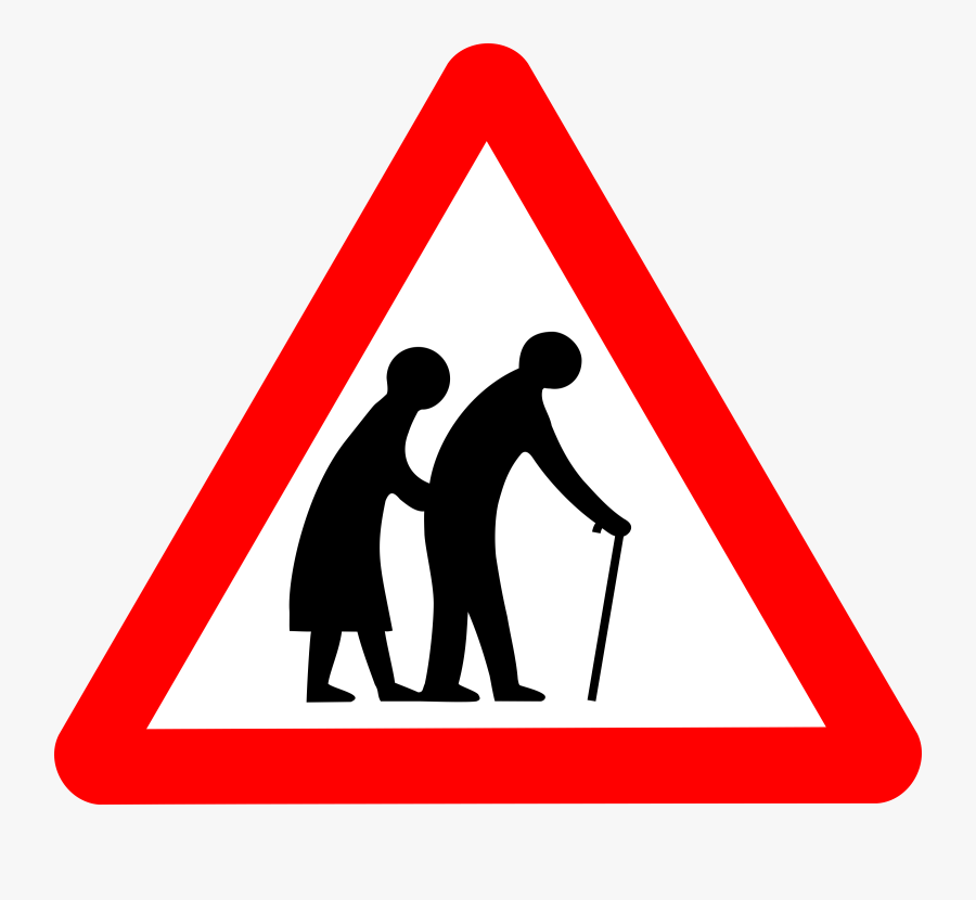 Triangle,human Behavior,silhouette - Old People Road Sign, Transparent Clipart