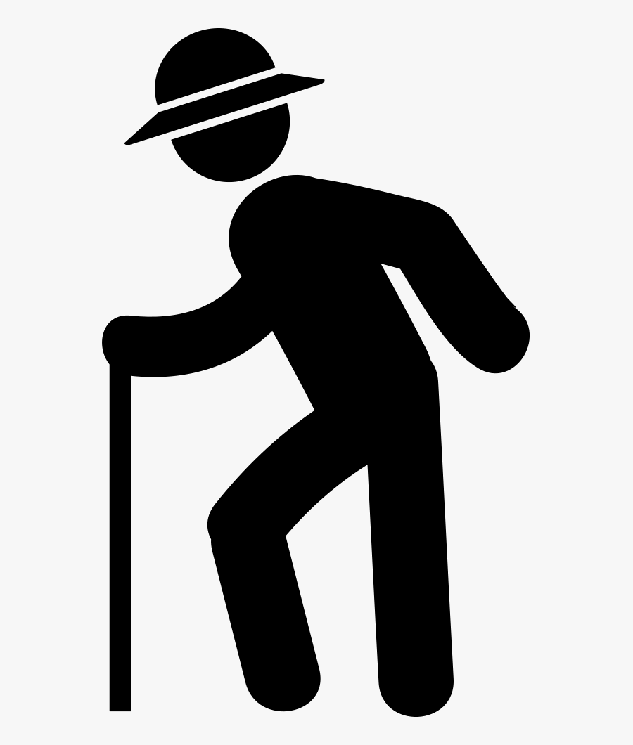 Clip Art Old Man Walking With Cane - Illustration, Transparent Clipart
