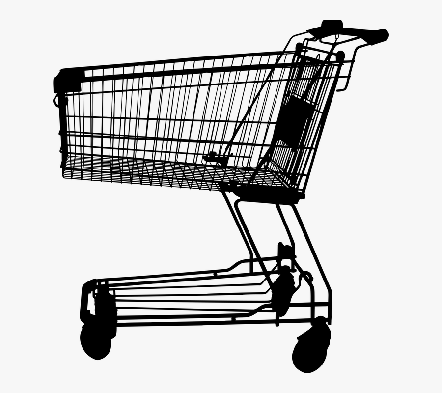 Shopping Cart Silhouette - Shopping Cart Clipart Black And White, Transparent Clipart