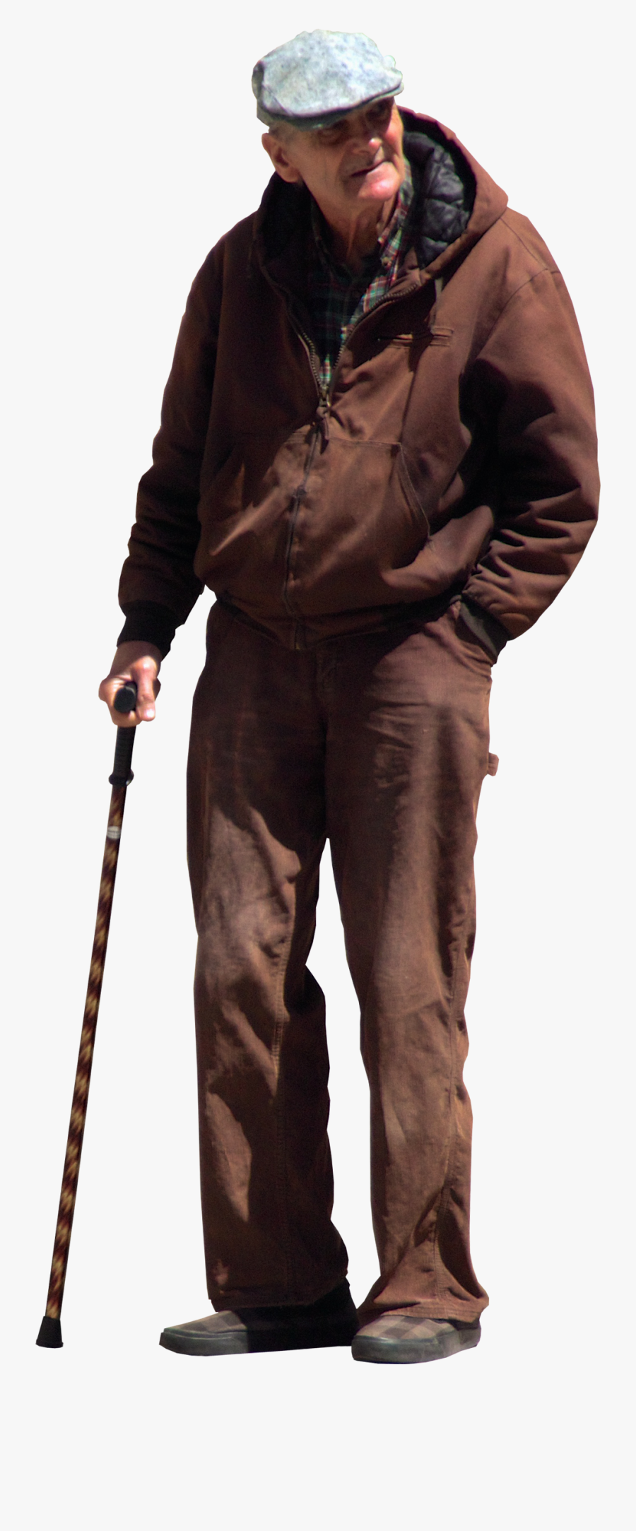 Old Man With Walking Stick, Transparent Clipart