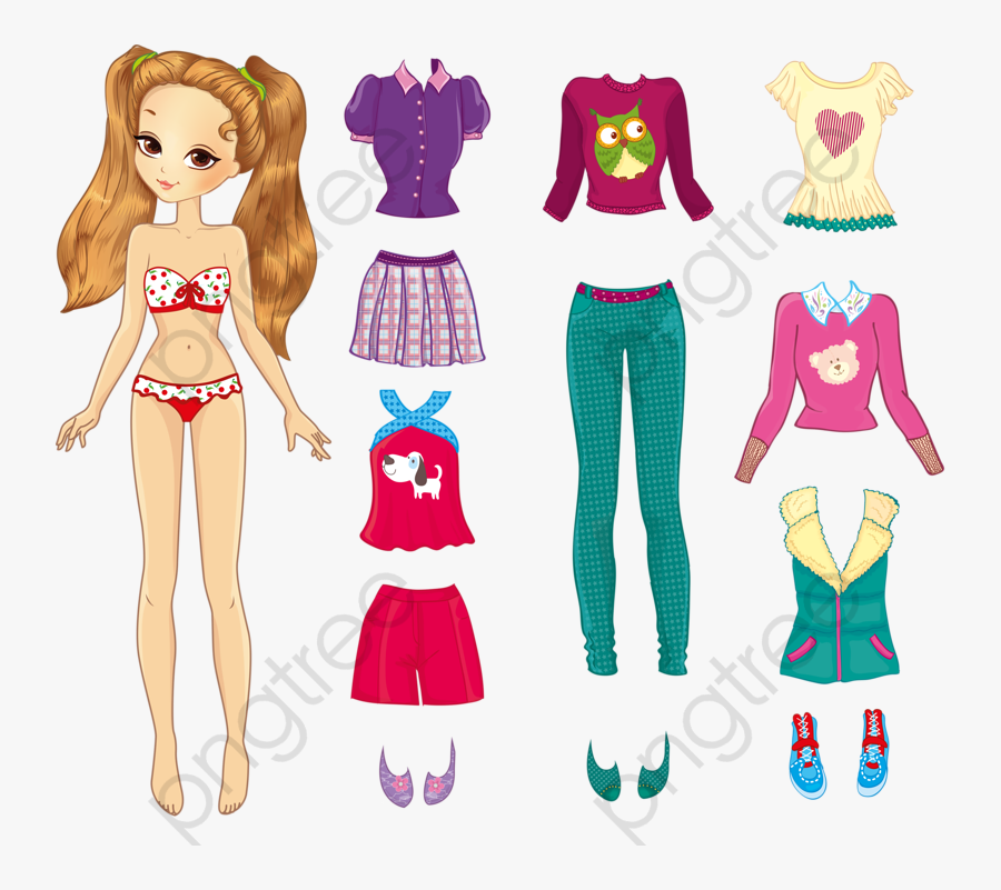 Baby Clipart Standing - Teenage Girl Paper Doll, Transparent Clipart