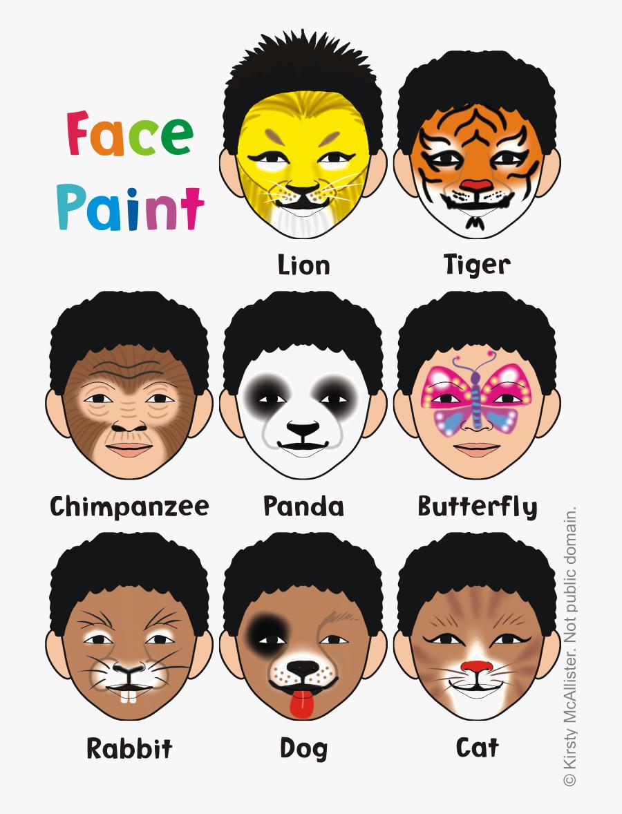 Puppy Face Paint, Lion Face Paint, Animal Face Paintings, - Easy Animal Face Paint Ideas, Transparent Clipart