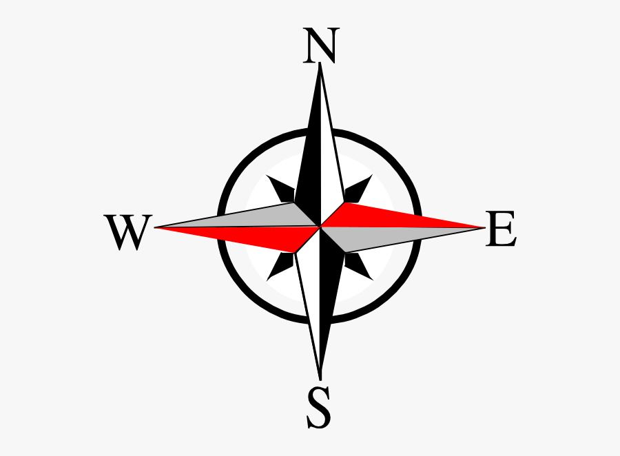 Compass North Clipart - Compass North East West South, Transparent Clipart