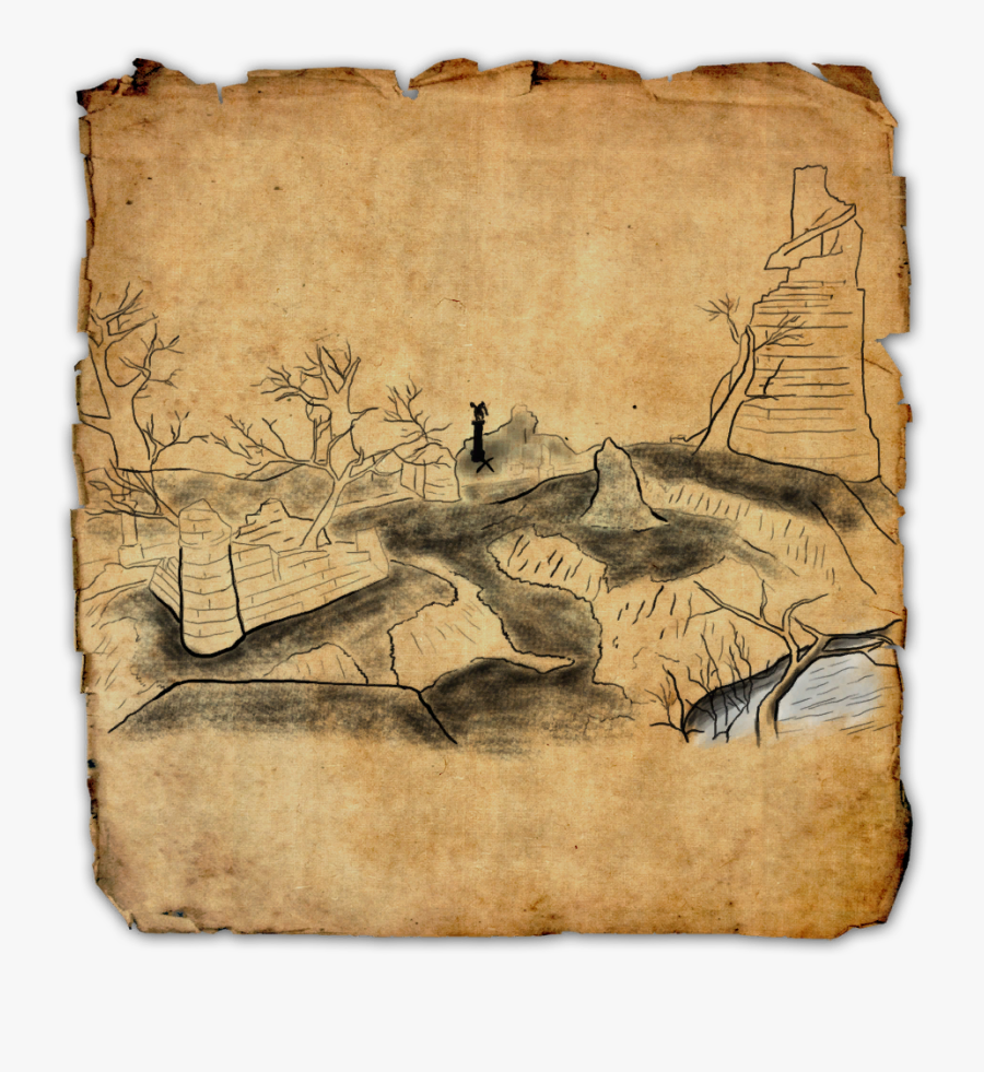 Clip Art Singed Treasure Map - Elder Scrolls Online Treasure Maps, Transparent Clipart