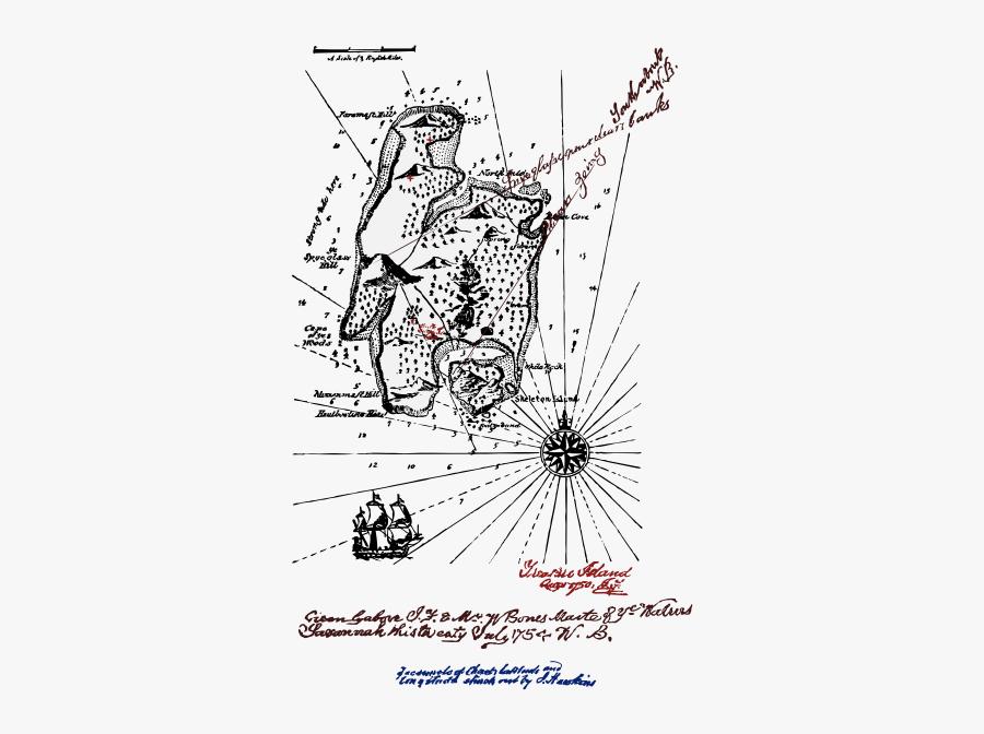 Art,text,monochrome - Stevenson Treasure Island Map, Transparent Clipart