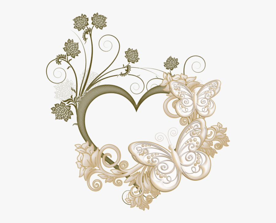 Butterfly Heart Frame Love Picture Free Clipart Hq - Flower Heart Frame Png, Transparent Clipart