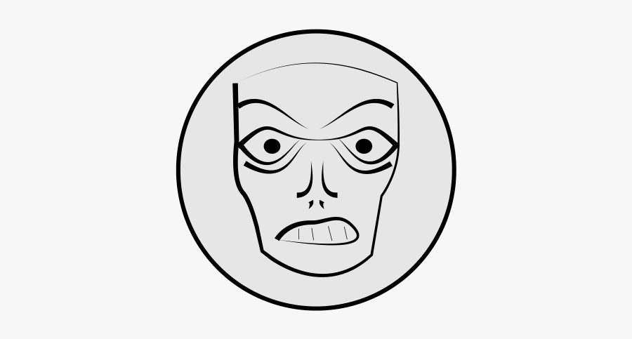 Angry Face - Angry Mask Face Drawing, Transparent Clipart