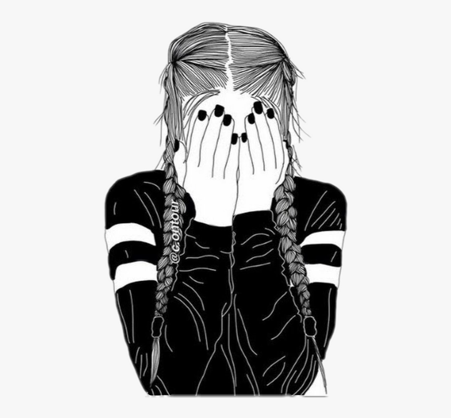 Clip Art Black And White Drawing Of A Girl - Drawing Of A Girl With Braids, Transparent Clipart
