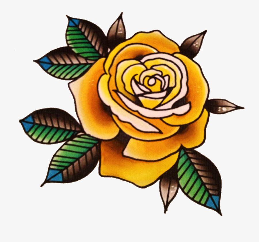 Yellow Rose Flower Free Png Transparent Images Free - Old School Roses Tattoo, Transparent Clipart
