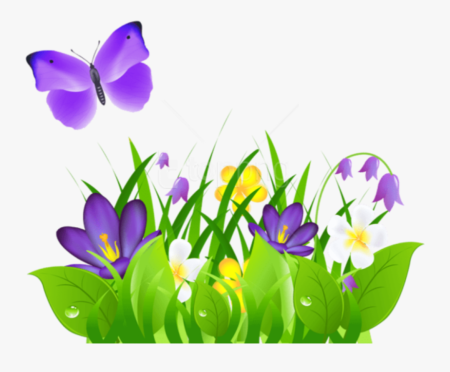 Free Png Download Purple Flowers Grass And Butterflypicture - Butterfly Flower Clip Art, Transparent Clipart