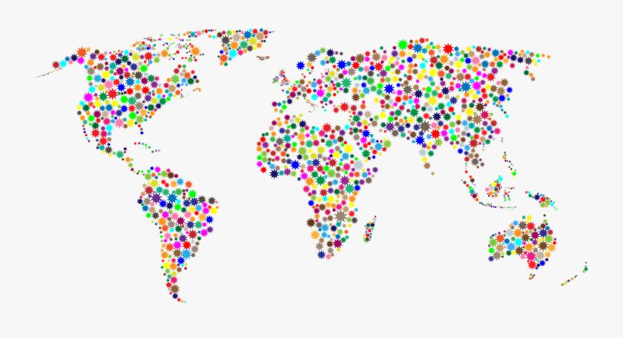 Text,line,area - Colorful World Map Clipart, Transparent Clipart