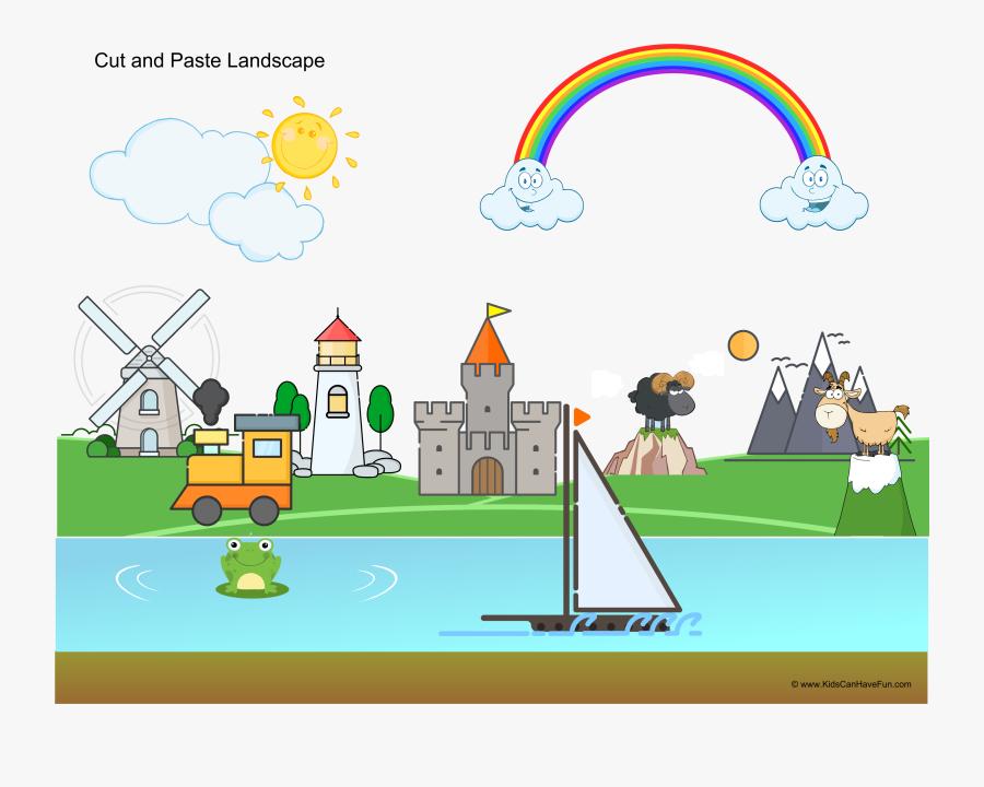 Cut And Paste Landscape Activity For Kids - Landscape Activities For Preschoolers, Transparent Clipart