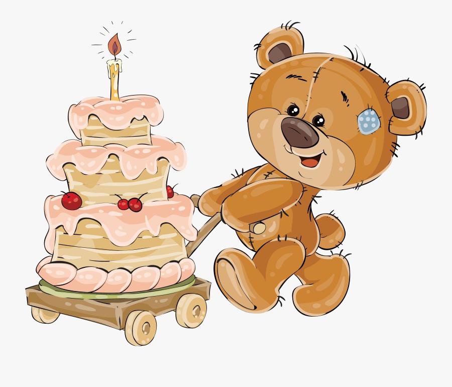 Clipart Cake Teddy Bear - Мишка Тедди На Прозрачном Фоне, Transparent Clipart