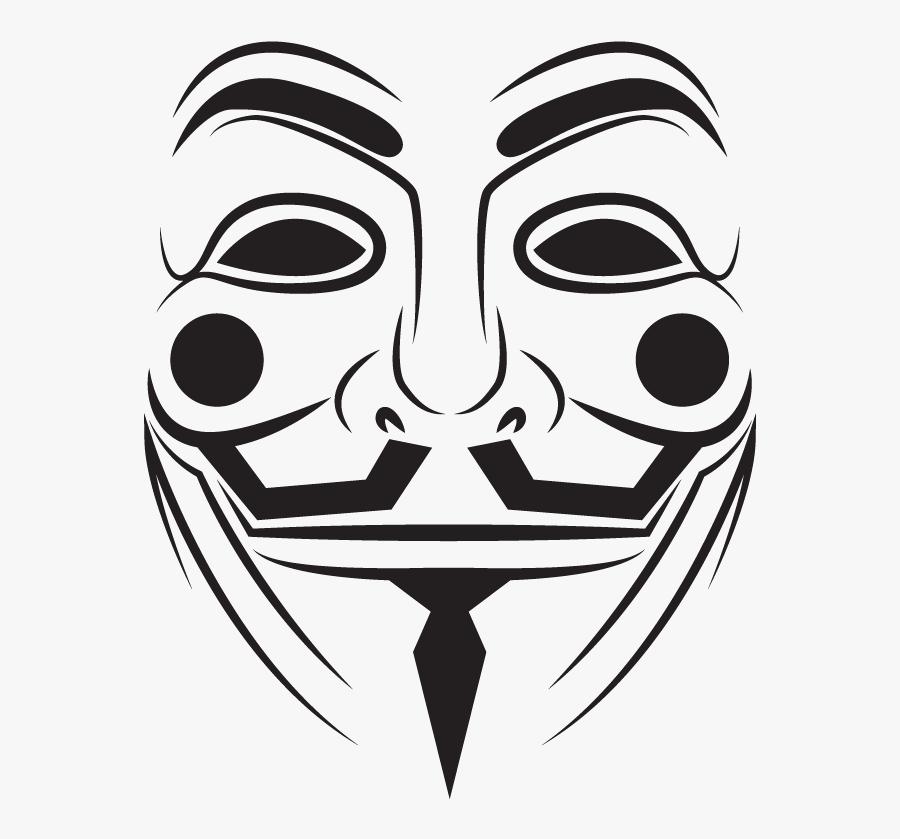 Face,facial And White,clip Art,coloring Book,smile,fictional - Dibujo De Máscara De V De Venganza, Transparent Clipart