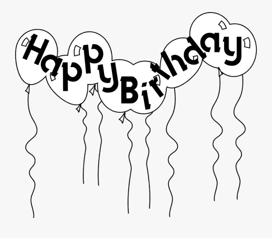 Happy Birthday Balloons Black And White Clipart Free - Balloon Black And White Clipart, Transparent Clipart