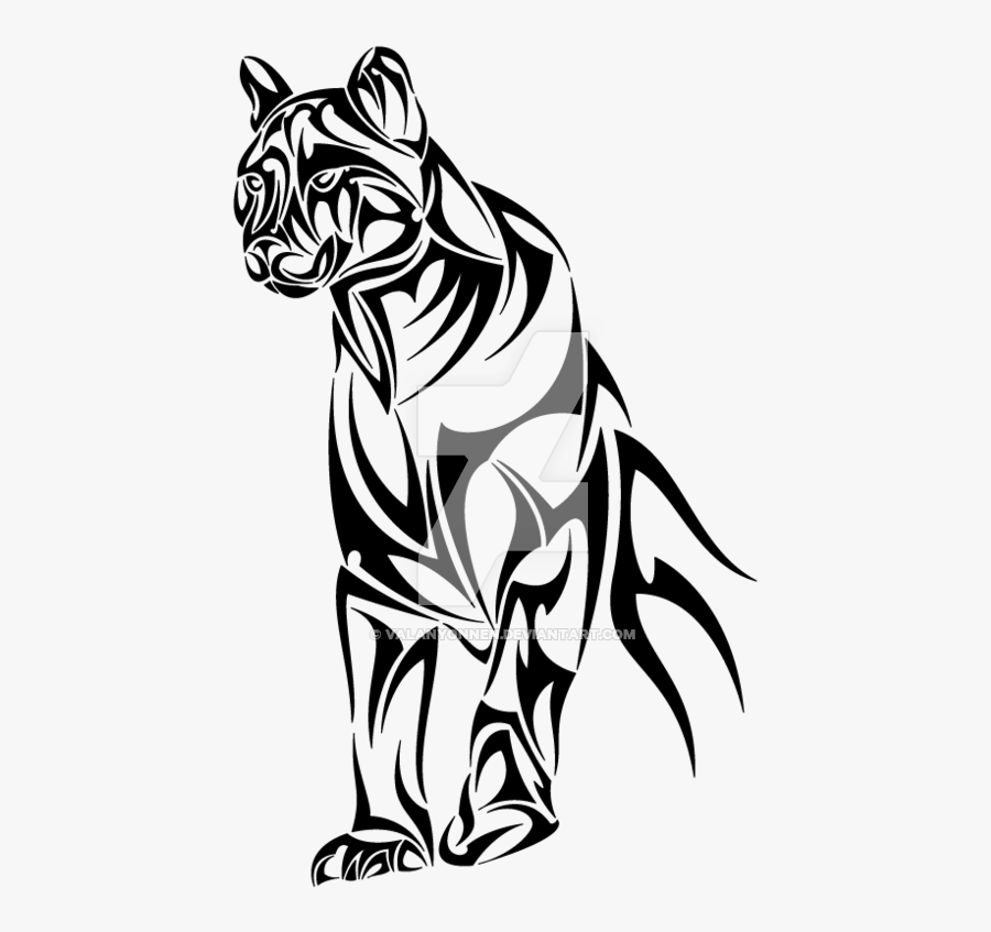 Clip Art Beautiful Tribal Panther Design - Tattoo Drawing Of Panther, Transparent Clipart