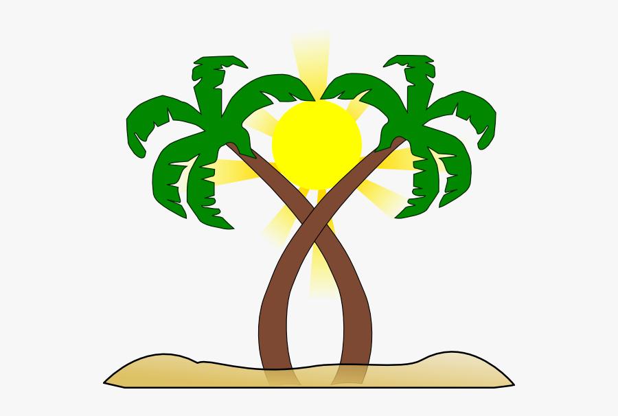 Double Palm Beach Clip Art At Clker - Tree, Transparent Clipart