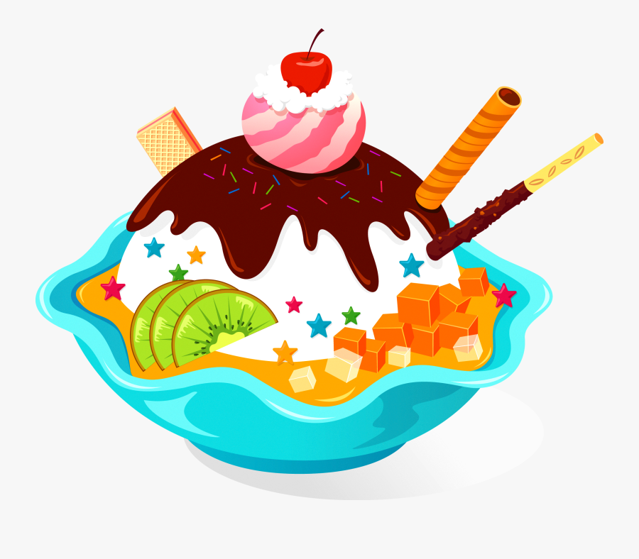 Banner Library Cake And Ice Cream Clipart - Ice Cream Sundae Banner, Transparent Clipart
