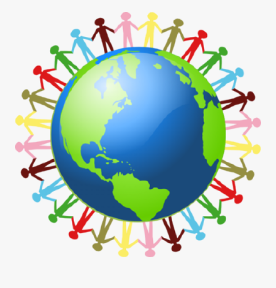 Globe Clipart Classroom - People Holding Hands Around The World, Transparent Clipart