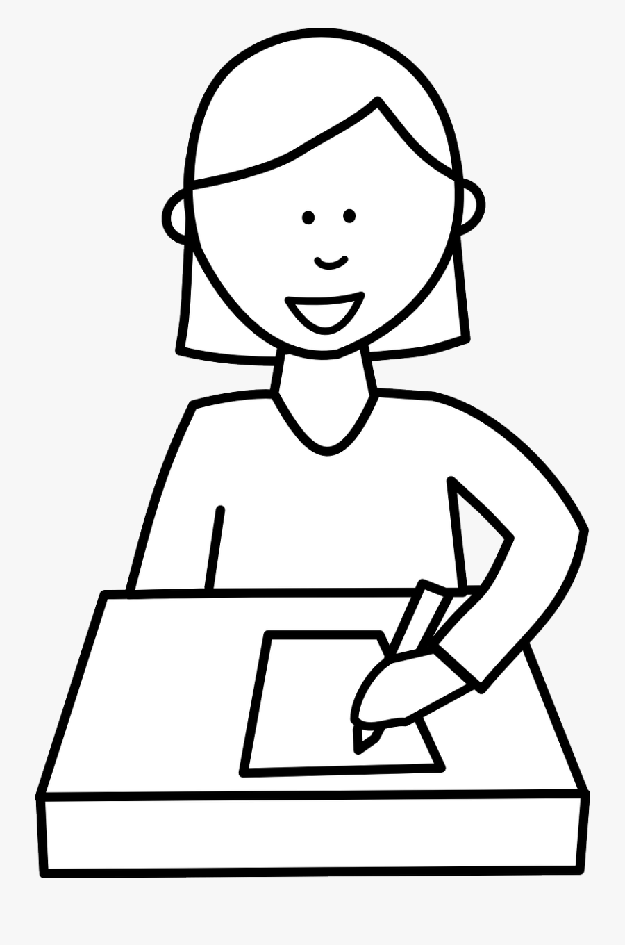 Writing Cliparts - Student Writing Clipart Black And White, Transparent Clipart