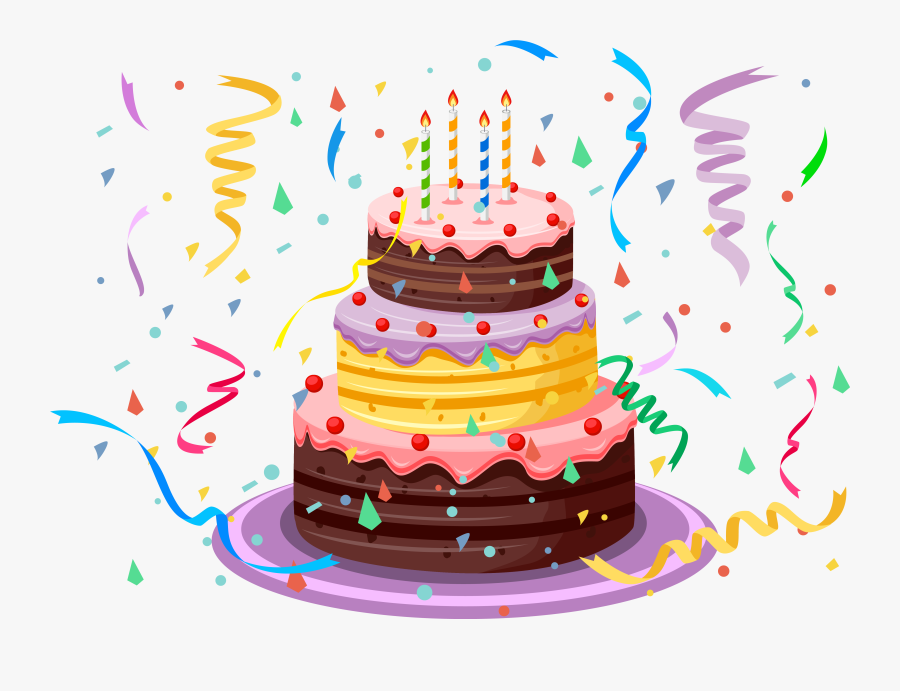 Clip Art With Confetti Png Picture - Happy Birthday Cake Clip Art Png, Transparent Clipart