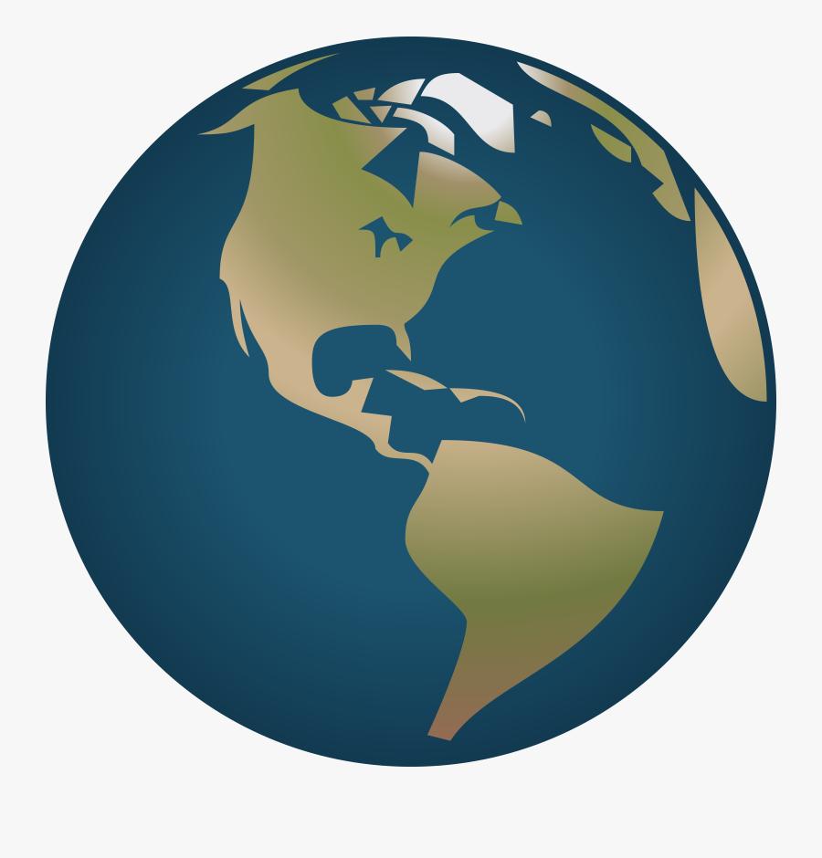 Globe Clipart Simple - Globe World Map America, Transparent Clipart