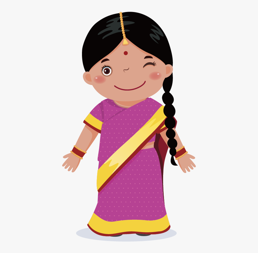 Graphic Royalty Free Download Black Baby Girl Clipart - Niña India Animada, Transparent Clipart