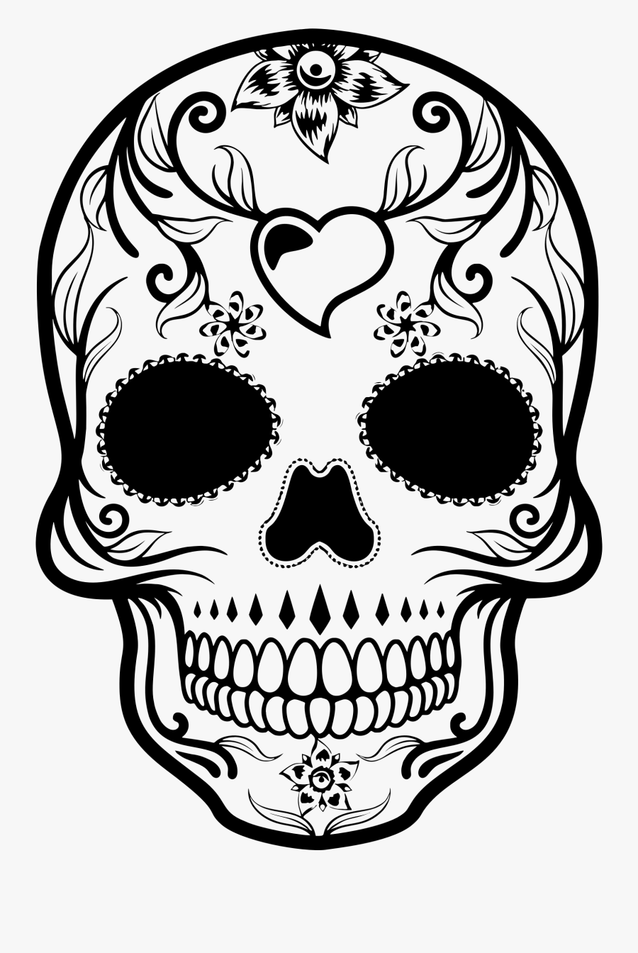 Skull Clipart Dead - Drawing Day Of The Dead Skull, Transparent Clipart