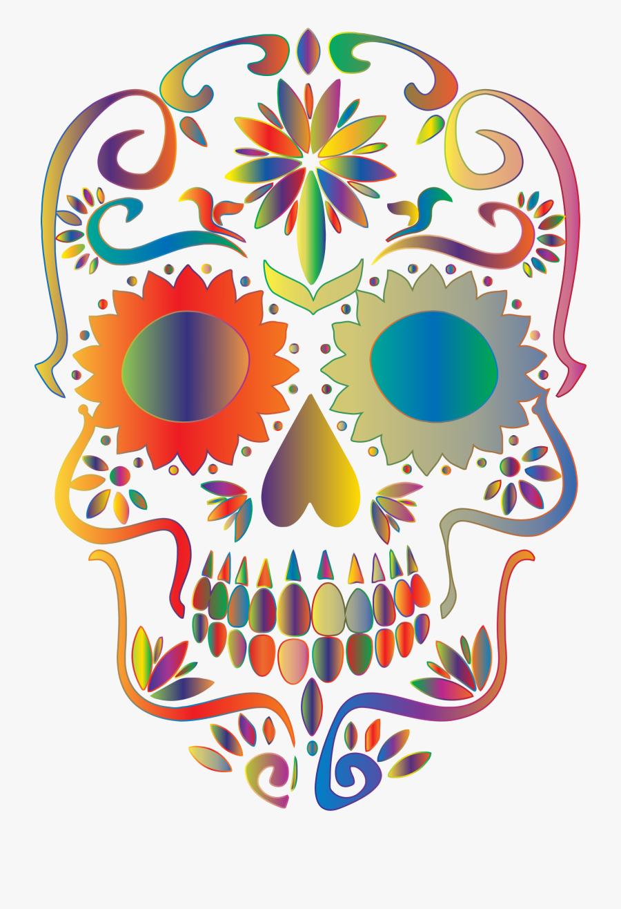 Skull Clipart Candy Skull - Transparent Background Sugar Skull Png, Transparent Clipart