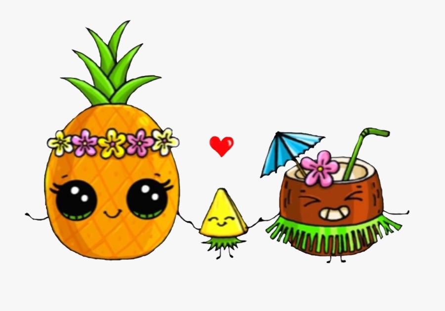#lai #luau #pineapple #coconut #hulua #mydrunkenmonkey - Cute Easy Fruit Drawings, Transparent Clipart